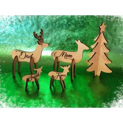 Custom Laser Cut Deer Family