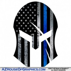 "Thin Blue Line Flag ""SPARTAN"" Sticker"