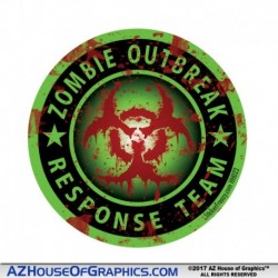 Zombie Outbreak Bloody Hard Hat Sticker - HH023