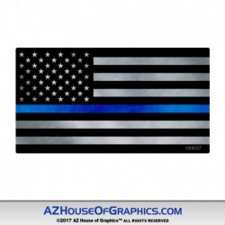 Thin Blue Line Mtl Flag Hard Hat Sticker - HH037